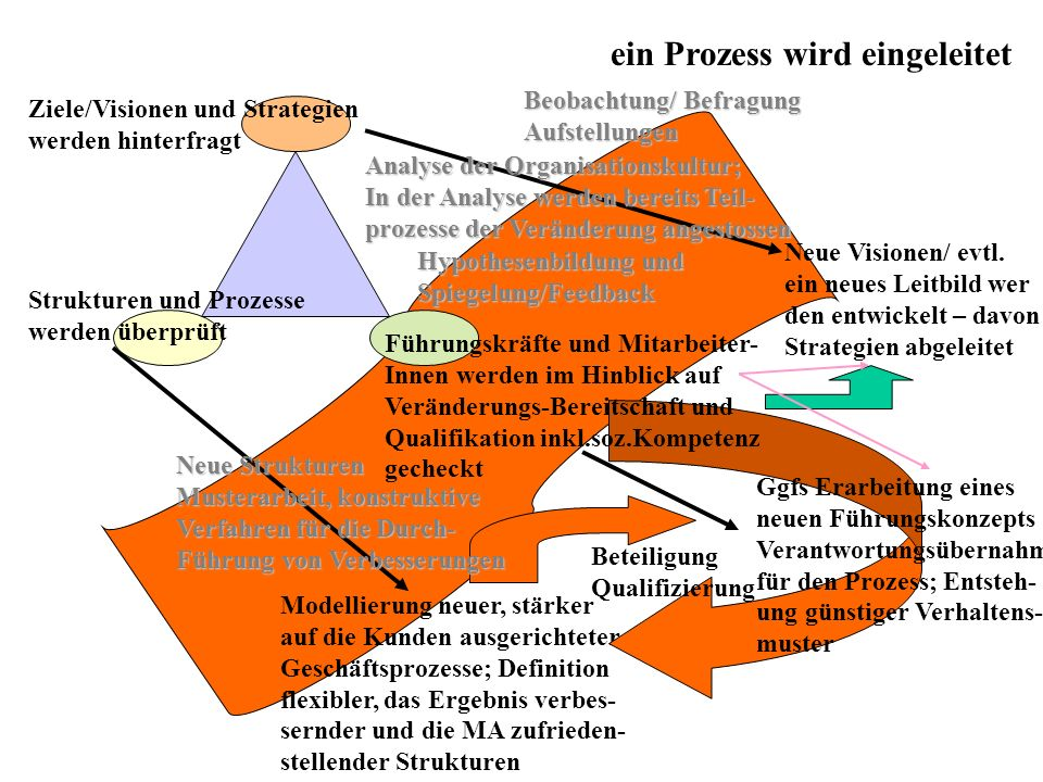 ein Prozess wird eingeleitet Neue Visionen/ evtl. ein neues Leitbild wer den entwickelt – davon Strategien abgeleitet Ziele/Visionen und Strategien we