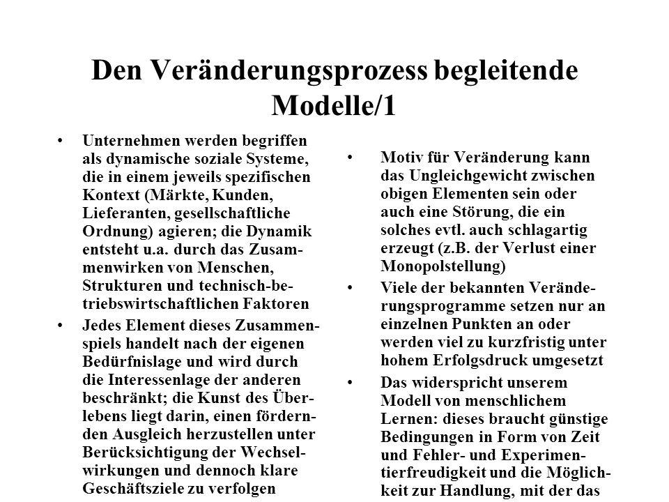 Den Veränderungsprozess begleitende Modelle/1 Unternehmen werden begriffen als dynamische soziale Systeme, die in einem jeweils spezifischen Kontext (