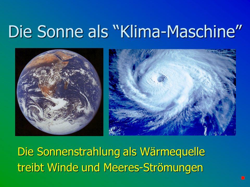 Die Sonnenstrahlung als Wärmequelle Die Sonnenstrahlung als Wärmequelle treibt Winde und Meeres-Strömungen treibt Winde und Meeres-Strömungen Die Sonn