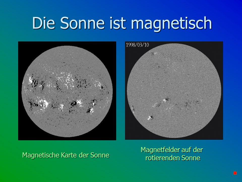 Die Sonne ist magnetisch Magnetische Karte der Sonne Magnetfelder auf der rotierenden Sonne