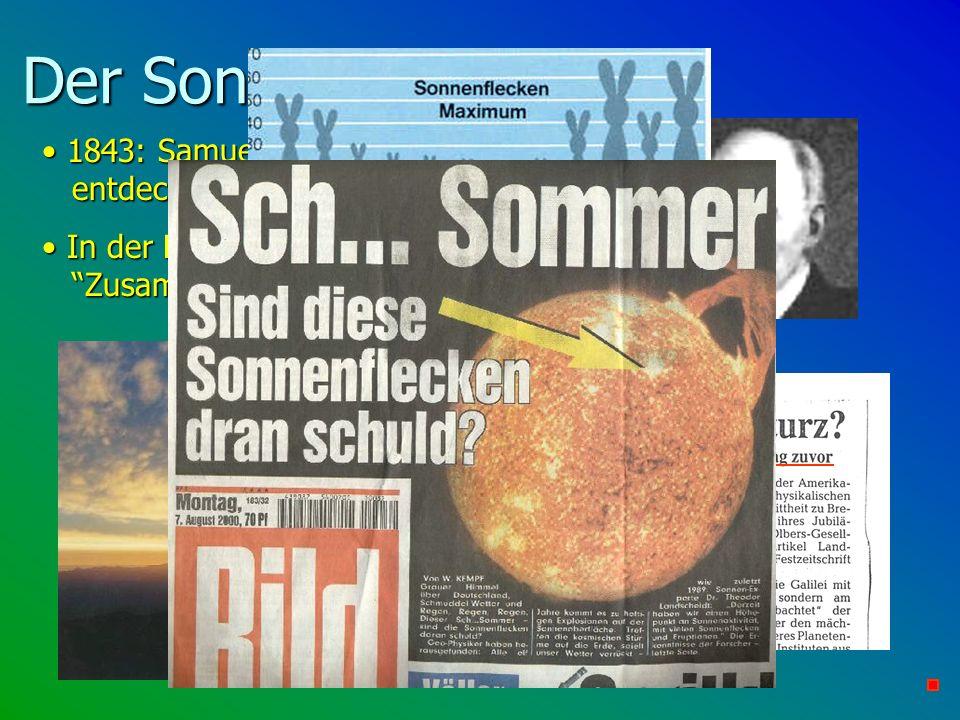 Der Sonnenzyklus und... 1843: Samuel Heinrich Schwabe entdeckt den 11-jährigen Sonnenzyklus 1843: Samuel Heinrich Schwabe entdeckt den 11-jährigen Son