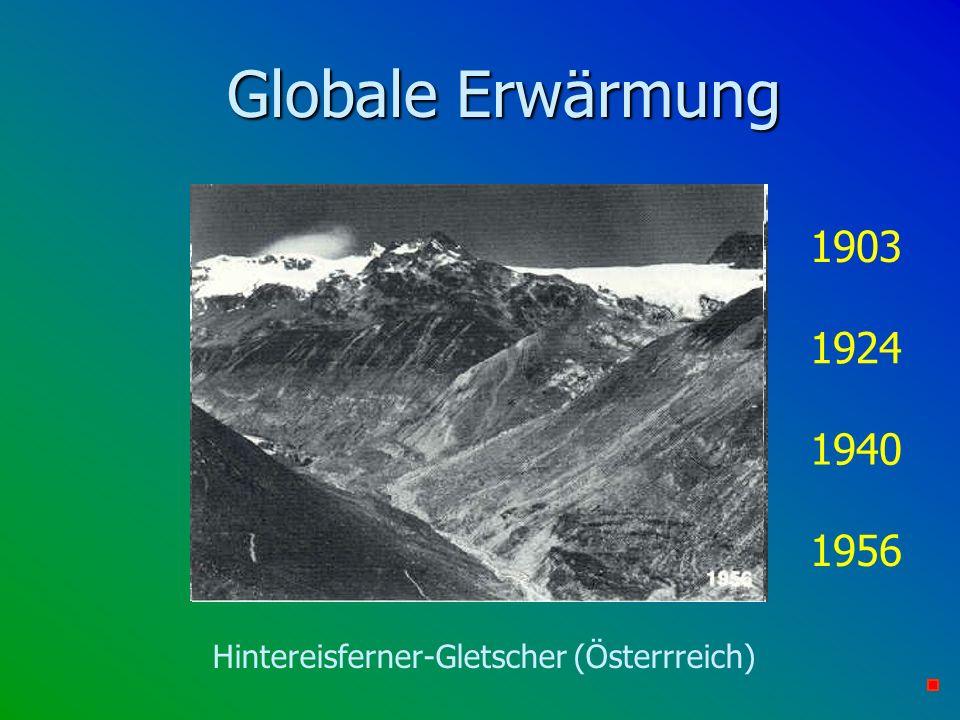 Globale Erwärmung 1940 1903 1924 1956 Hintereisferner-Gletscher (Österrreich)