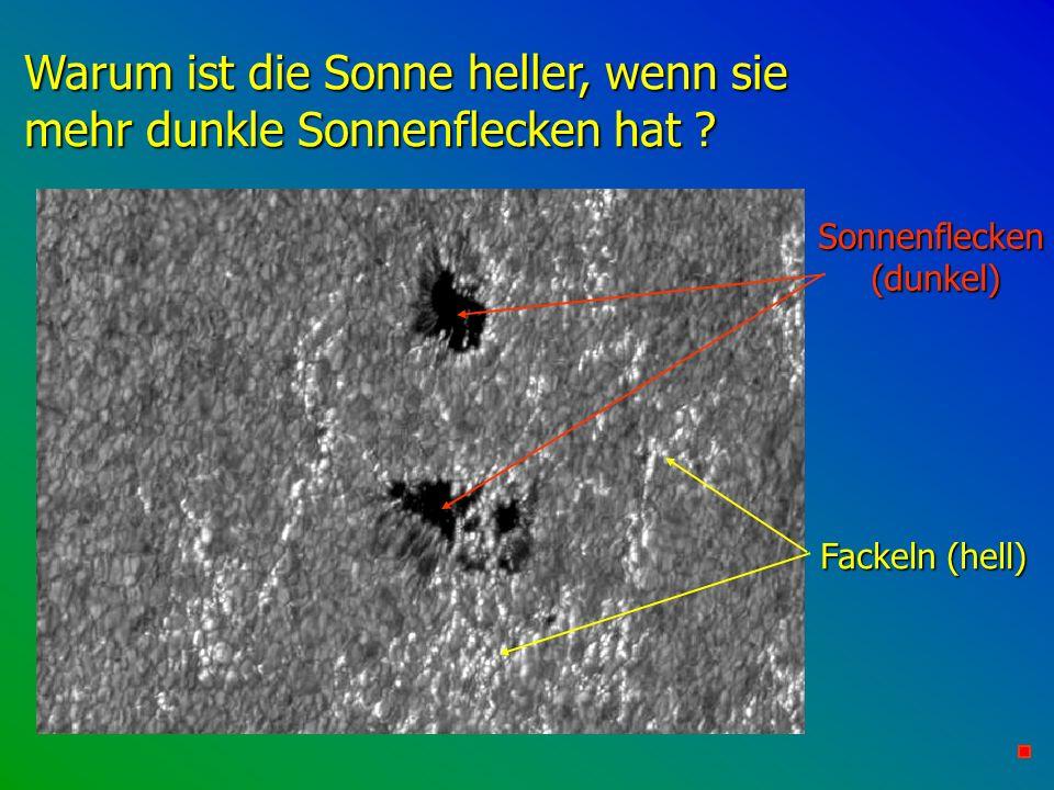 Warum ist die Sonne heller, wenn sie mehr dunkle Sonnenflecken hat ? Sonnenflecken (dunkel) Fackeln (hell)