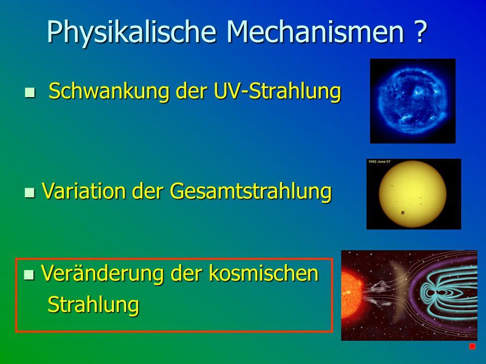 Physikalische Mechanismen ? n Schwankung der UV-Strahlung n Veränderung der kosmischen Strahlung n Variation der Gesamtstrahlung
