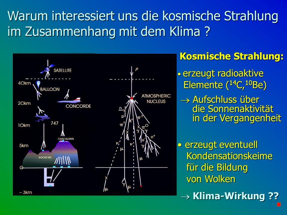 Warum interessiert uns die kosmische Strahlung im Zusammenhang mit dem Klima ? Kosmische Strahlung: Kosmische Strahlung: erzeugt radioaktive Elemente