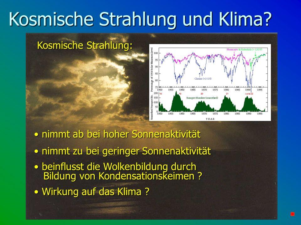 Kosmische Strahlung und Klima? Kosmische Strahlung: Kosmische Strahlung: nimmt ab bei hoher Sonnenaktivität nimmt ab bei hoher Sonnenaktivität nimmt z