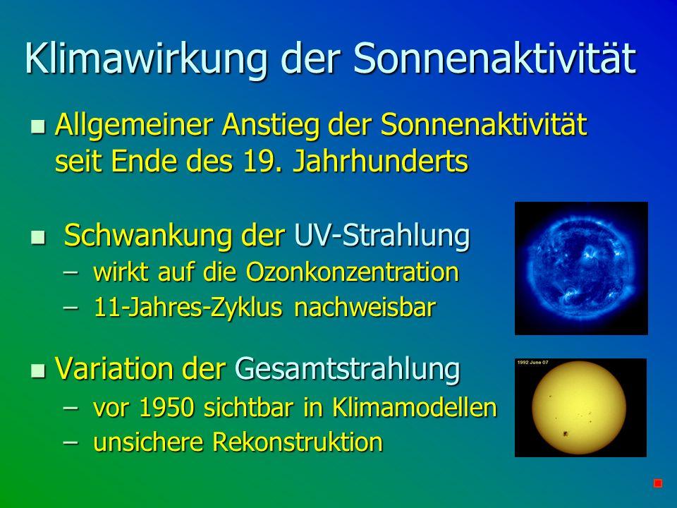 Klimawirkung der Sonnenaktivität n Variation der Gesamtstrahlung – vor 1950 sichtbar in Klimamodellen – unsichere Rekonstruktion n Allgemeiner Anstieg
