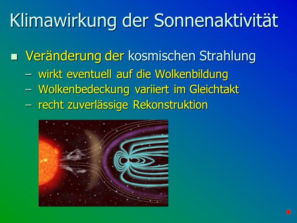 Klimawirkung der Sonnenaktivität n Veränderung der kosmischen Strahlung – wirkt eventuell auf die Wolkenbildung – Wolkenbedeckung variiert im Gleichta