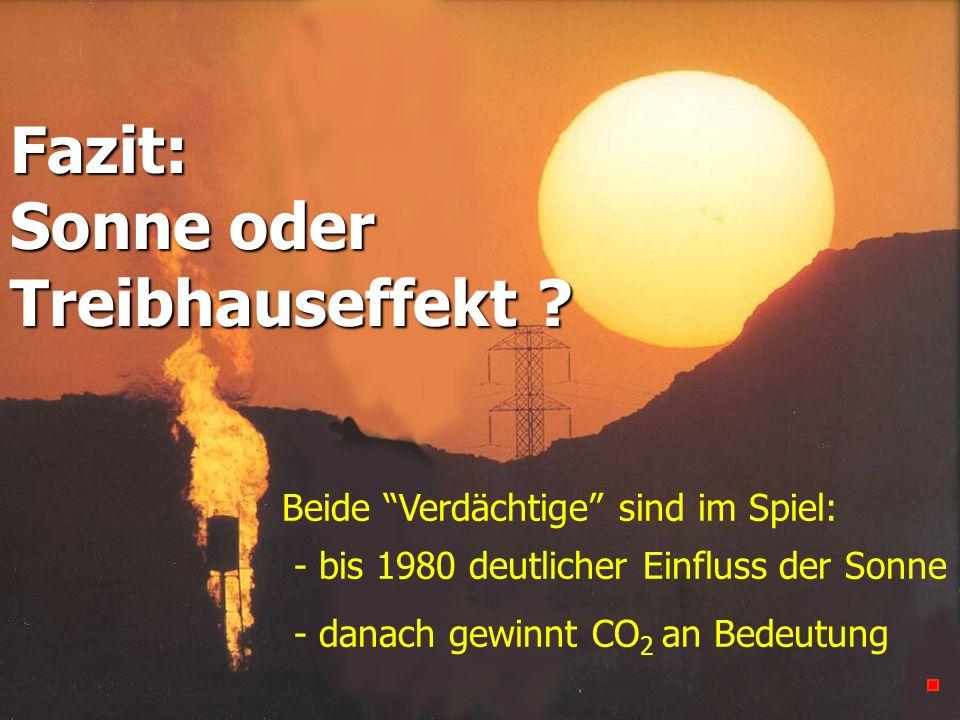 Fazit: Sonne oder Treibhauseffekt ? Beide Verdächtige sind im Spiel: - bis 1980 deutlicher Einfluss der Sonne - danach gewinnt CO 2 an Bedeutung