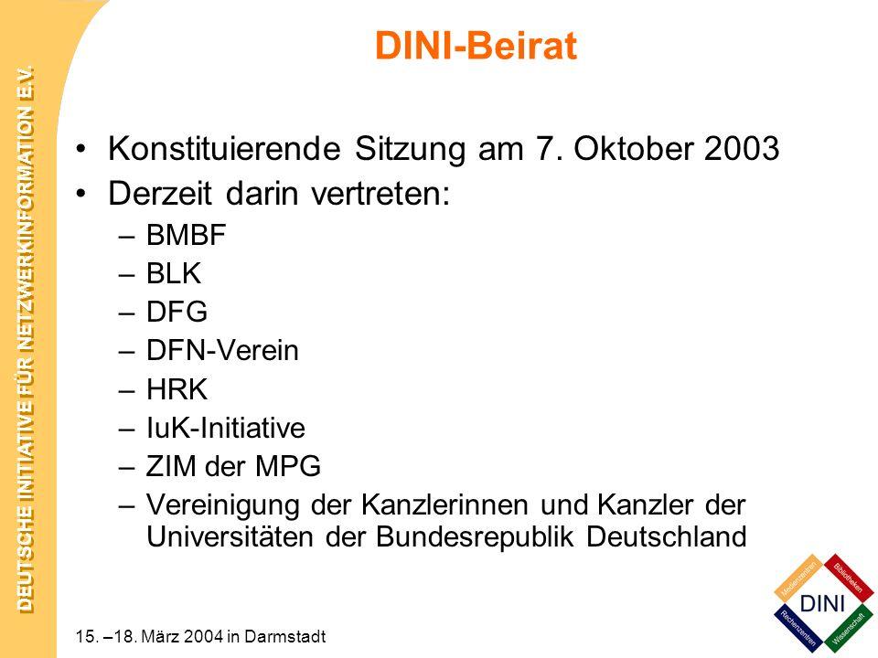 DEUTSCHE INITIATIVE FÜR NETZWERKINFORMATION E.V. 15. –18. März 2004 in Darmstadt DINI-Beirat Konstituierende Sitzung am 7. Oktober 2003 Derzeit darin
