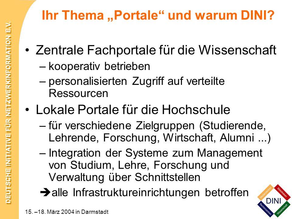 DEUTSCHE INITIATIVE FÜR NETZWERKINFORMATION E.V. 15. –18. März 2004 in Darmstadt Ihr Thema Portale und warum DINI? Zentrale Fachportale für die Wissen
