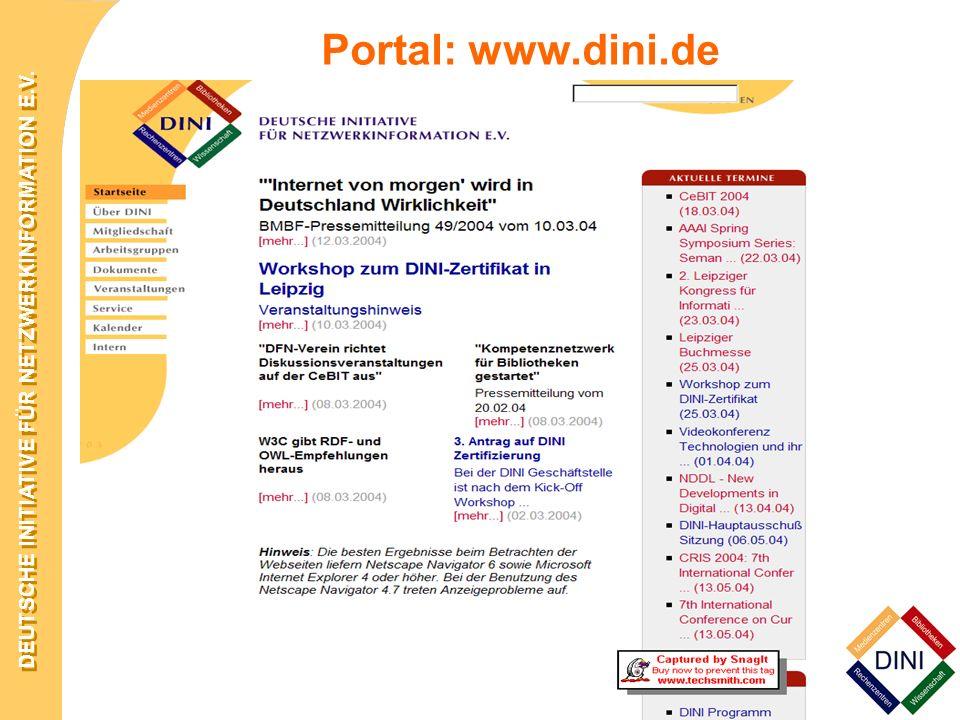 DEUTSCHE INITIATIVE FÜR NETZWERKINFORMATION E.V. 15. –18. März 2004 in Darmstadt Portal: www.dini.de
