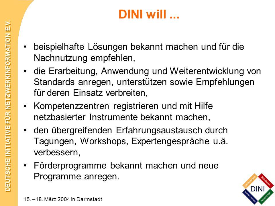 DEUTSCHE INITIATIVE FÜR NETZWERKINFORMATION E.V. 15. –18. März 2004 in Darmstadt beispielhafte Lösungen bekannt machen und für die Nachnutzung empfehl