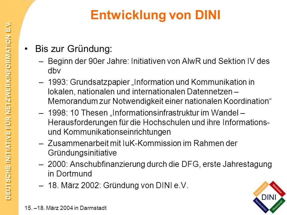 DEUTSCHE INITIATIVE FÜR NETZWERKINFORMATION E.V. 15. –18. März 2004 in Darmstadt Entwicklung von DINI Bis zur Gründung: –Beginn der 90er Jahre: Initia