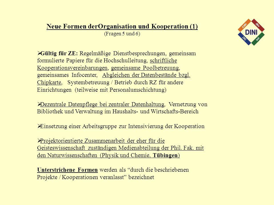Neue Formen derOrganisation und Kooperation (1) (Fragen 5 und 6) Gültig für ZE: Regelmäßige Dienstbesprechungen, gemeinsam formulierte Papiere für die