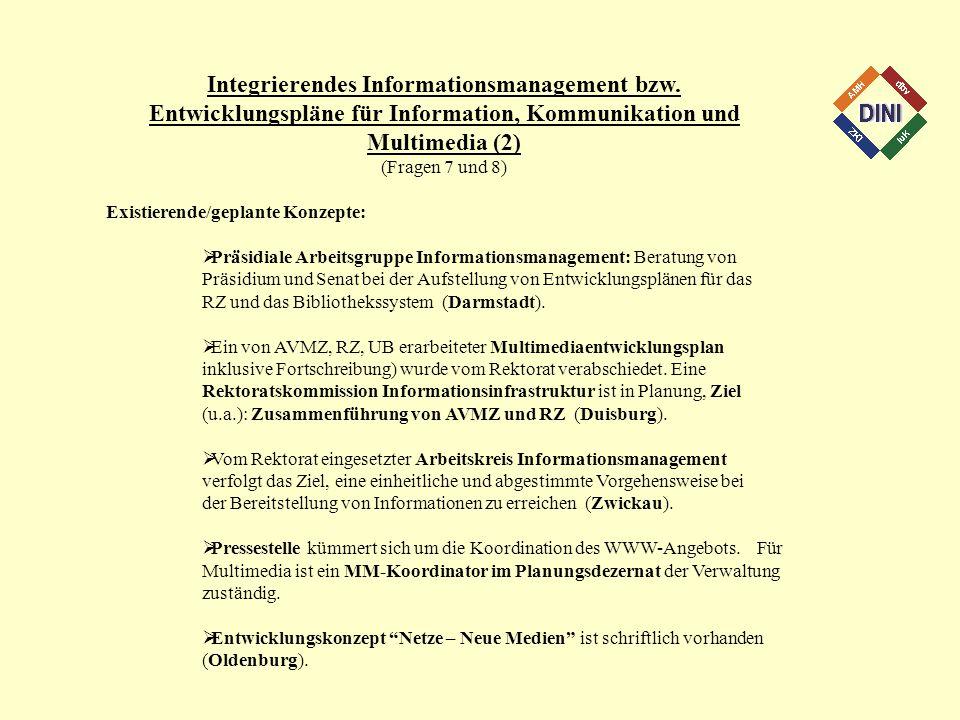 Integrierendes Informationsmanagement bzw. Entwicklungspläne für Information, Kommunikation und Multimedia (2) (Fragen 7 und 8) Existierende/geplante