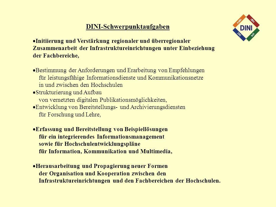 DINI-Schwerpunktaufgaben Initiierung und Verstärkung regionaler und überregionaler Zusammenarbeit der Infrastruktureinrichtungen unter Einbeziehung de