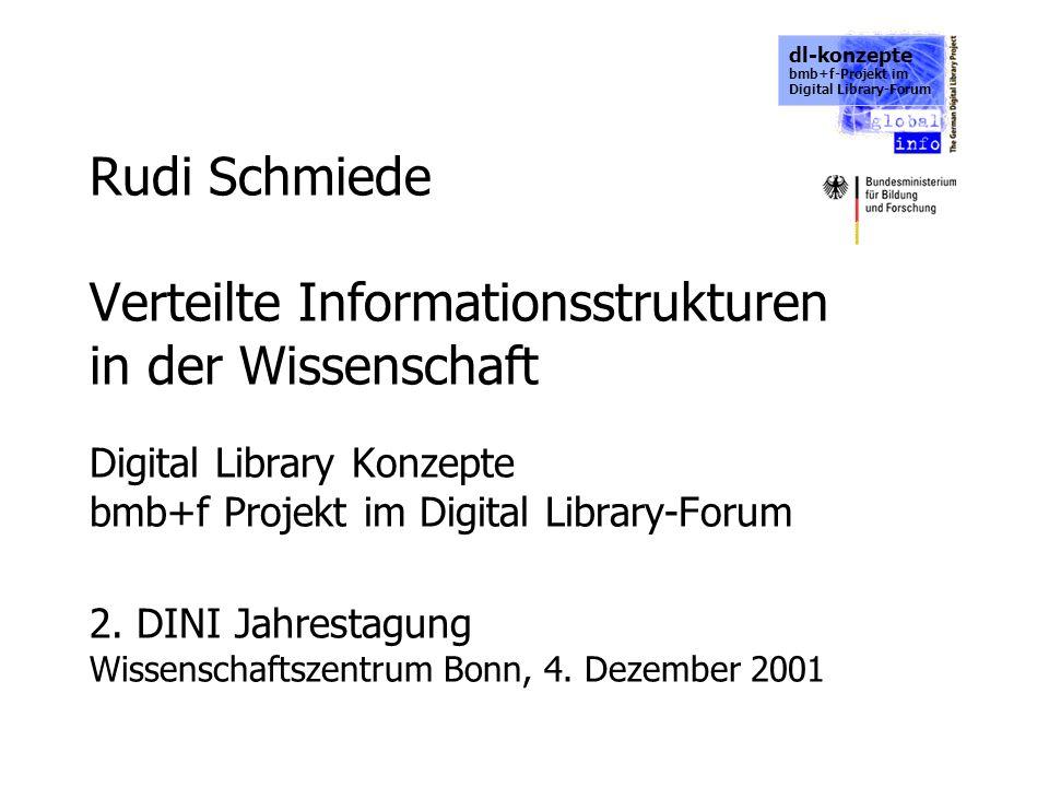 dl-konzepte bmb+f-Projekt im Digital Library-Forum Rudi Schmiede Verteilte Informationsstrukturen in der Wissenschaft Digital Library Konzepte bmb+f P
