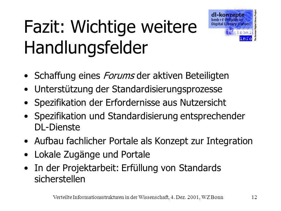 dl-konzepte bmb+f-Projekt im Digital Library-Forum Verteilte Informationsstrukturen in der Wissenschaft, 4. Dez. 2001, WZ Bonn12 Fazit: Wichtige weite