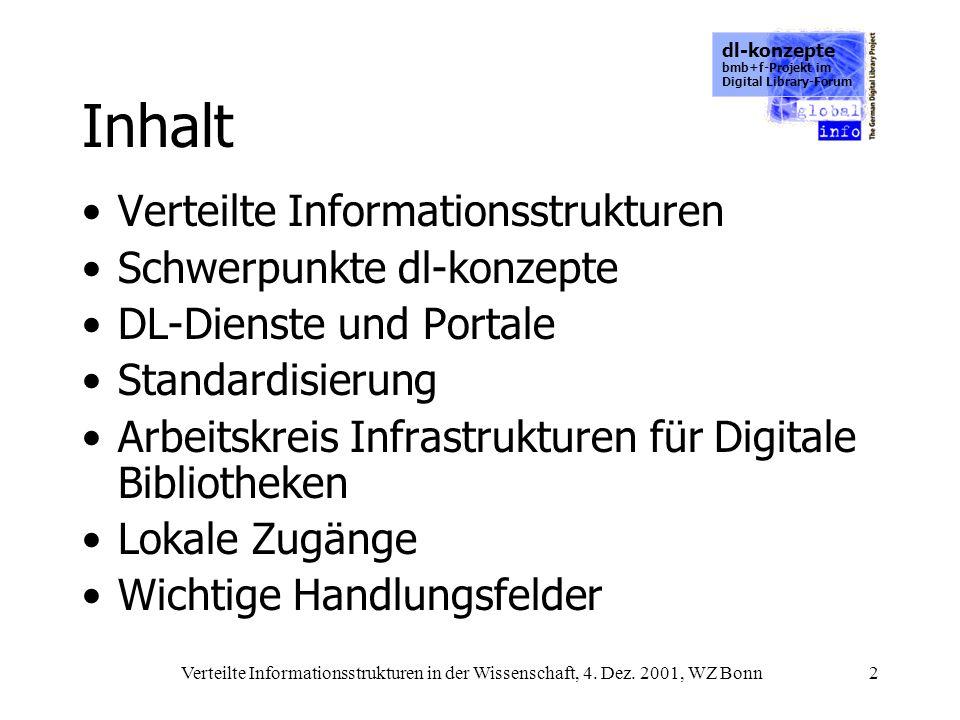 dl-konzepte bmb+f-Projekt im Digital Library-Forum Verteilte Informationsstrukturen in der Wissenschaft, 4. Dez. 2001, WZ Bonn2 Inhalt Verteilte Infor
