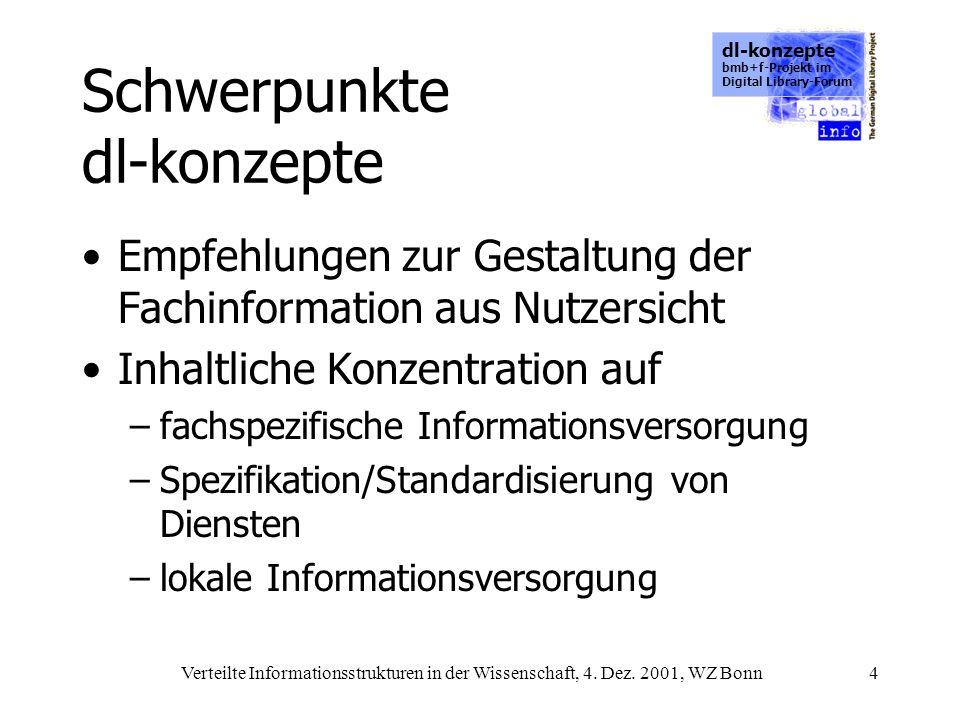 dl-konzepte bmb+f-Projekt im Digital Library-Forum Verteilte Informationsstrukturen in der Wissenschaft, 4. Dez. 2001, WZ Bonn4 Schwerpunkte dl-konzep