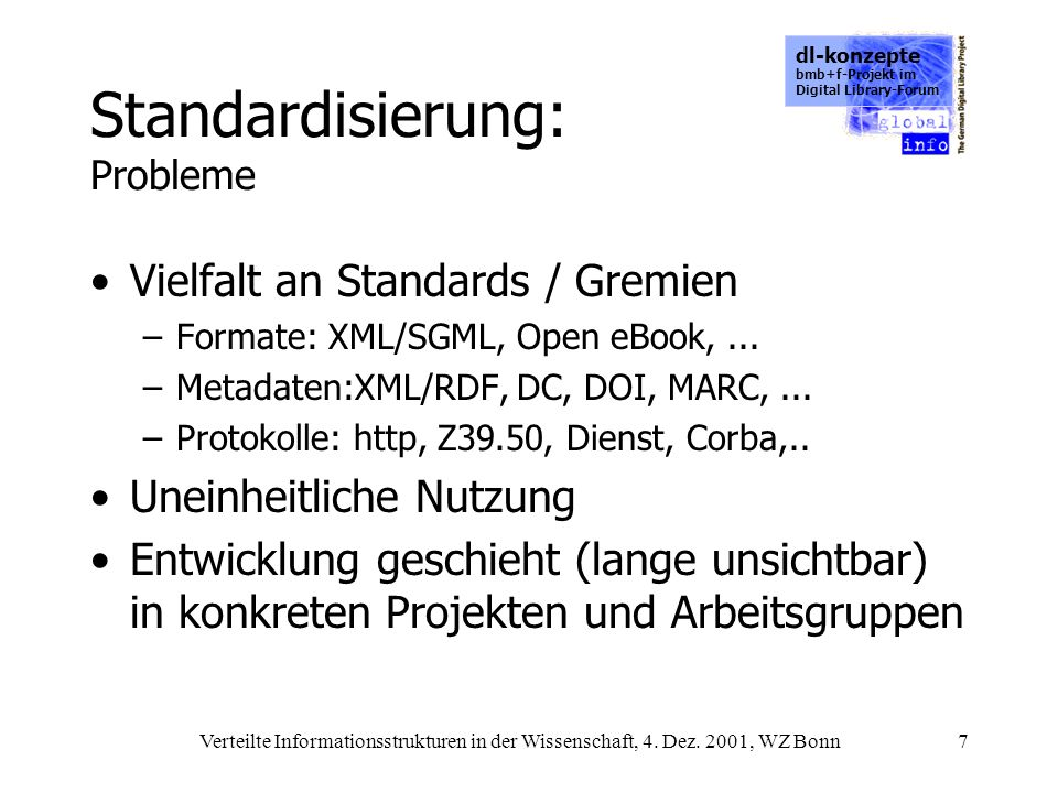 dl-konzepte bmb+f-Projekt im Digital Library-Forum Verteilte Informationsstrukturen in der Wissenschaft, 4. Dez. 2001, WZ Bonn7 Standardisierung: Prob