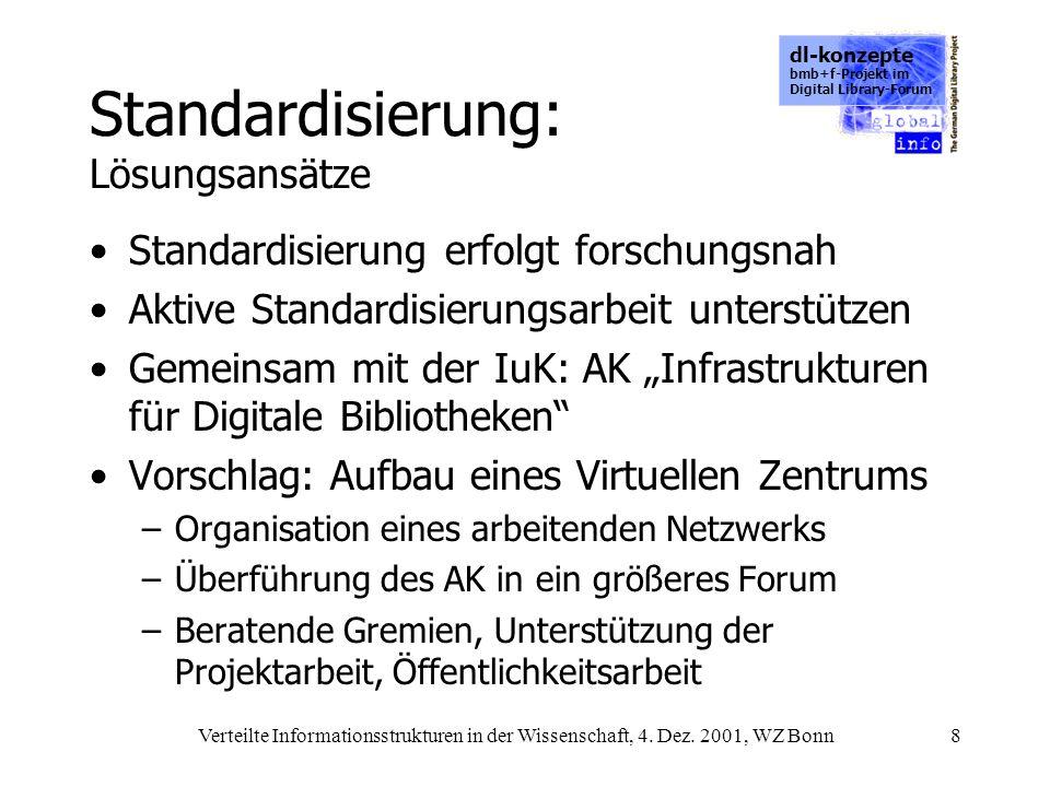 dl-konzepte bmb+f-Projekt im Digital Library-Forum Verteilte Informationsstrukturen in der Wissenschaft, 4. Dez. 2001, WZ Bonn8 Standardisierung: Lösu
