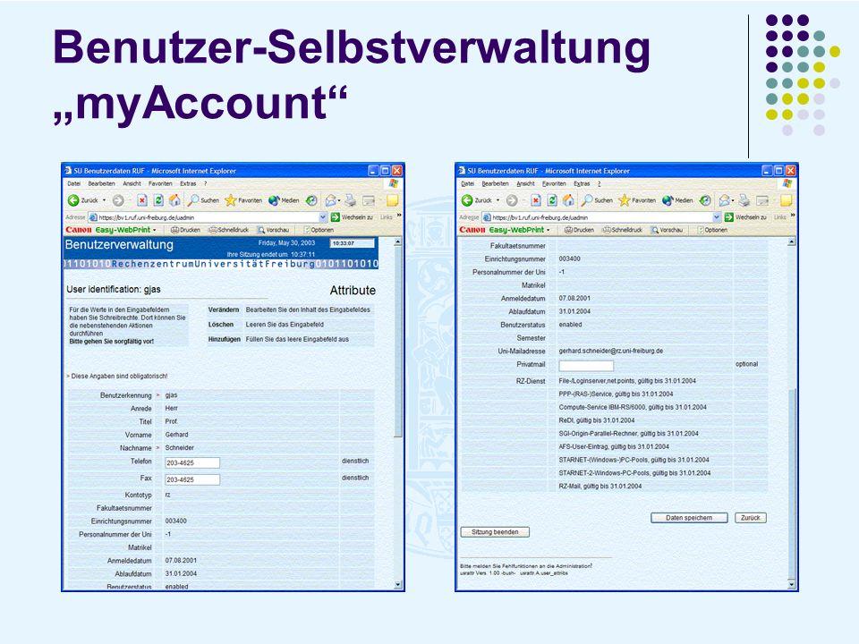 Benutzer-Selbstverwaltung myAccount