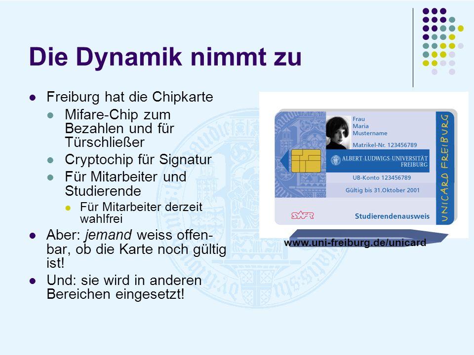 Die Dynamik nimmt zu Freiburg hat die Chipkarte Mifare-Chip zum Bezahlen und für Türschließer Cryptochip für Signatur Für Mitarbeiter und Studierende