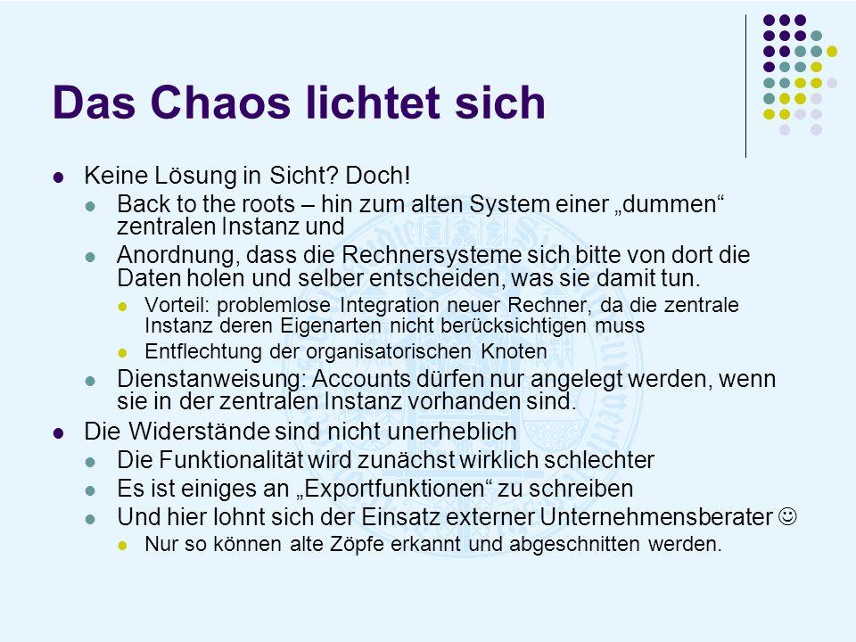 Das Chaos lichtet sich Keine Lösung in Sicht? Doch! Back to the roots – hin zum alten System einer dummen zentralen Instanz und Anordnung, dass die Re
