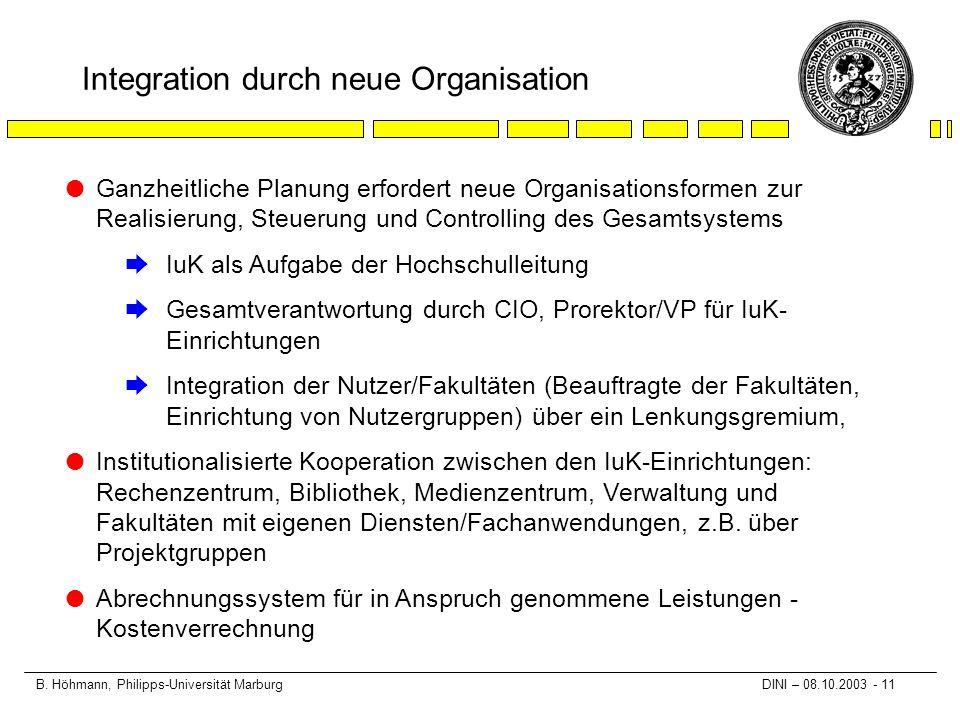 B. Höhmann, Philipps-Universität Marburg DINI – 08.10.2003 - 11 Integration durch neue Organisation l Ganzheitliche Planung erfordert neue Organisatio