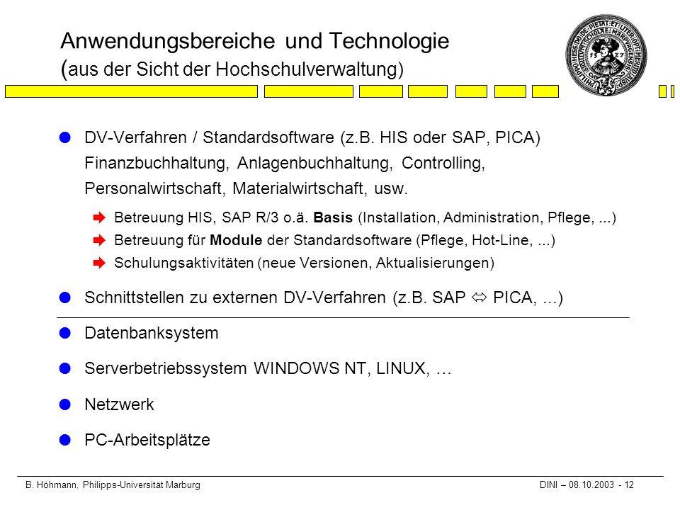 B. Höhmann, Philipps-Universität Marburg DINI – 08.10.2003 - 12 Anwendungsbereiche und Technologie ( aus der Sicht der Hochschulverwaltung) l DV-Verfa