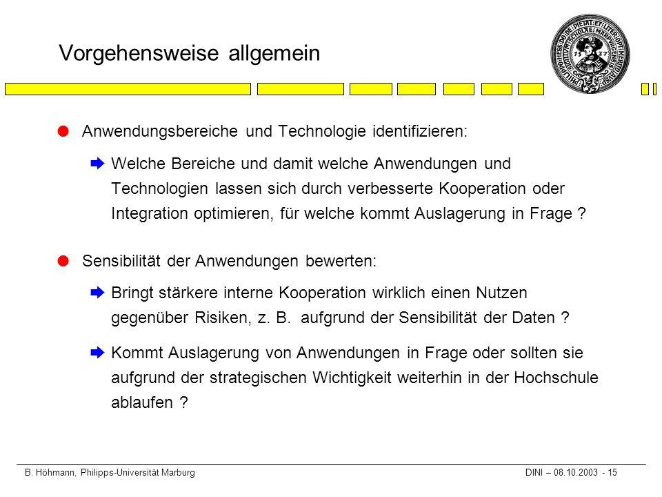 B. Höhmann, Philipps-Universität Marburg DINI – 08.10.2003 - 15 Vorgehensweise allgemein l Anwendungsbereiche und Technologie identifizieren: èWelche