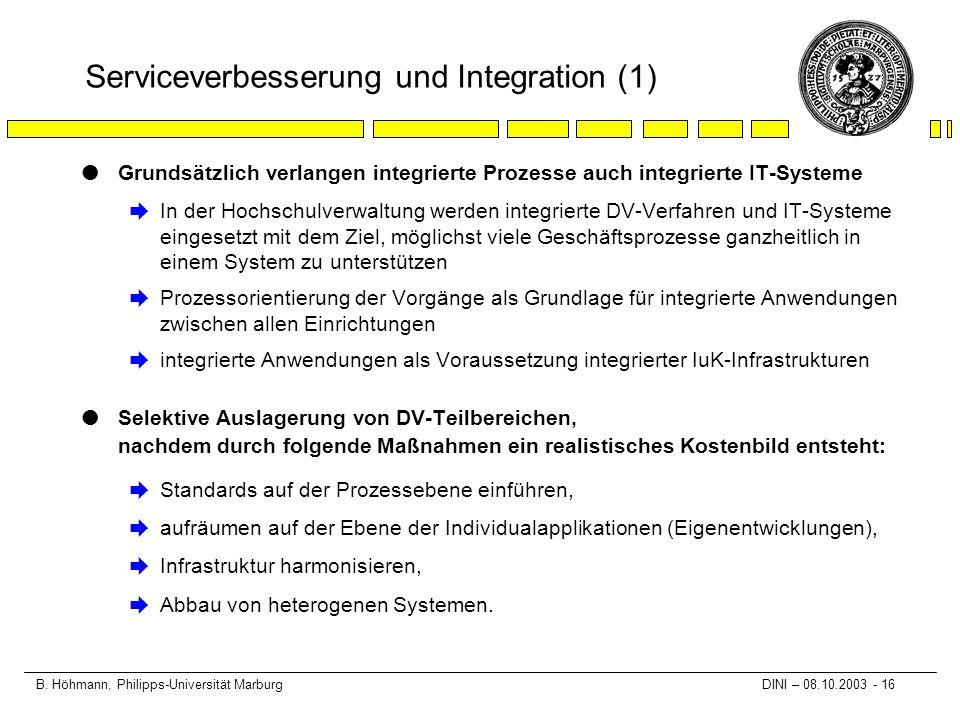 B. Höhmann, Philipps-Universität Marburg DINI – 08.10.2003 - 16 Serviceverbesserung und Integration (1) lGrundsätzlich verlangen integrierte Prozesse