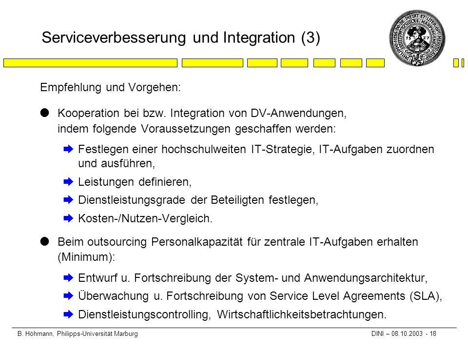 B. Höhmann, Philipps-Universität Marburg DINI – 08.10.2003 - 18 Serviceverbesserung und Integration (3) Empfehlung und Vorgehen: lKooperation bei bzw.