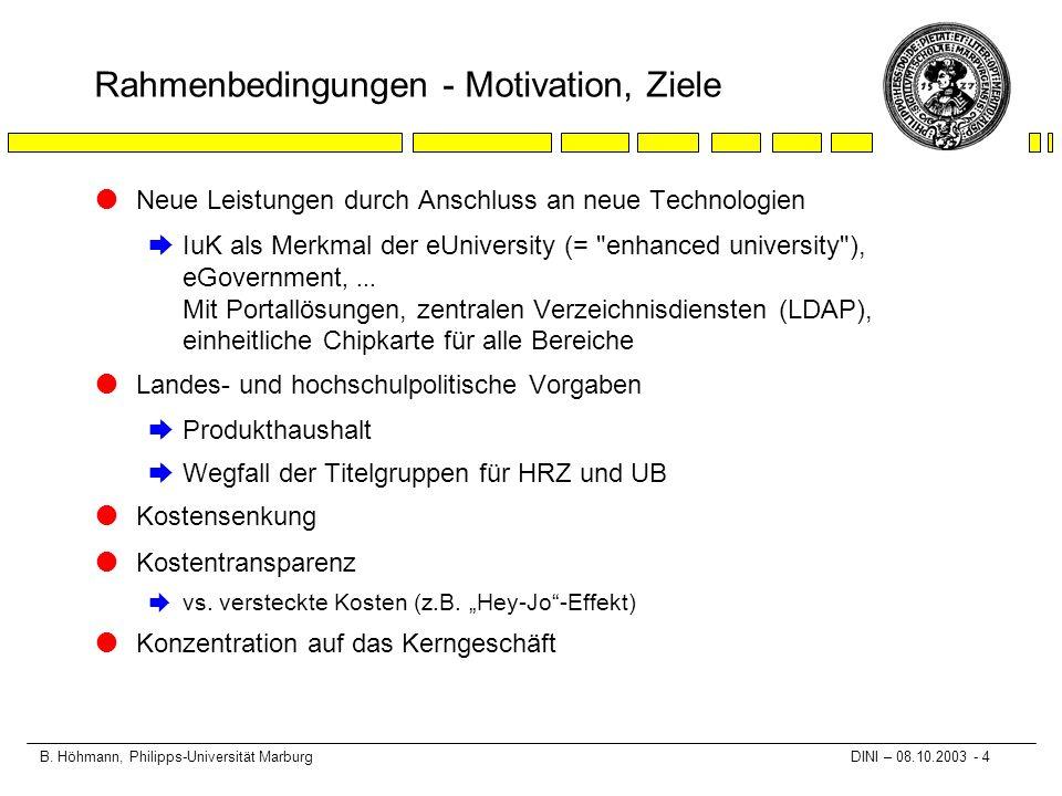 B. Höhmann, Philipps-Universität Marburg DINI – 08.10.2003 - 4 Rahmenbedingungen - Motivation, Ziele lNeue Leistungen durch Anschluss an neue Technolo
