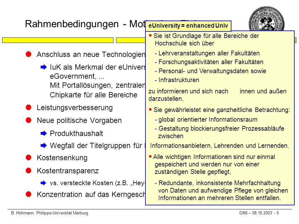 B. Höhmann, Philipps-Universität Marburg DINI – 08.10.2003 - 5 Rahmenbedingungen - Motivation, Ziele lAnschluss an neue Technologien èIuK als Merkmal