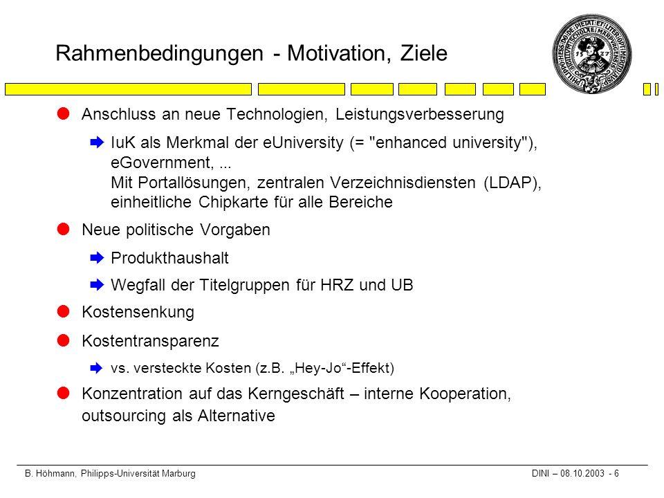 B. Höhmann, Philipps-Universität Marburg DINI – 08.10.2003 - 6 Rahmenbedingungen - Motivation, Ziele lAnschluss an neue Technologien, Leistungsverbess