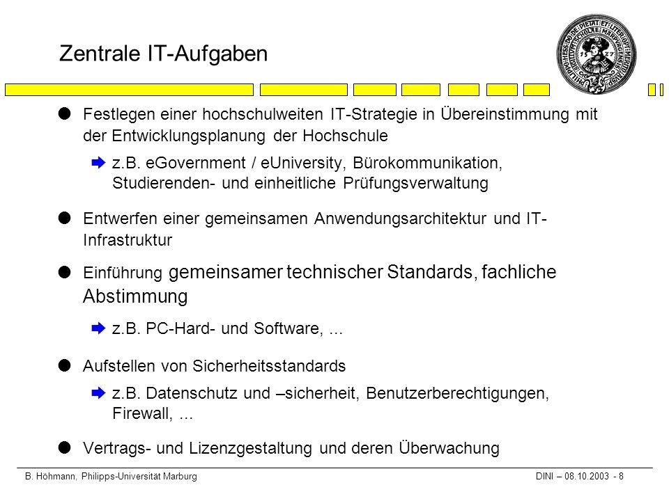 B. Höhmann, Philipps-Universität Marburg DINI – 08.10.2003 - 8 Zentrale IT-Aufgaben lFestlegen einer hochschulweiten IT-Strategie in Übereinstimmung m