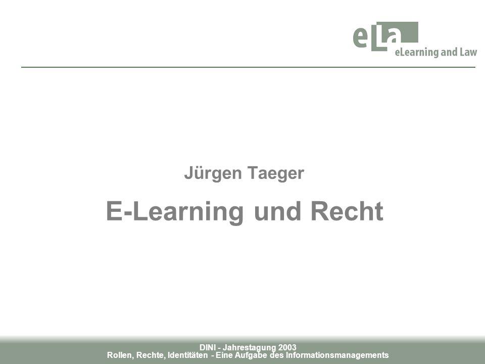 DINI - Jahrestagung 2003 Rollen, Rechte, Identitäten - Eine Aufgabe des Informationsmanagements Jürgen Taeger E-Learning und Recht