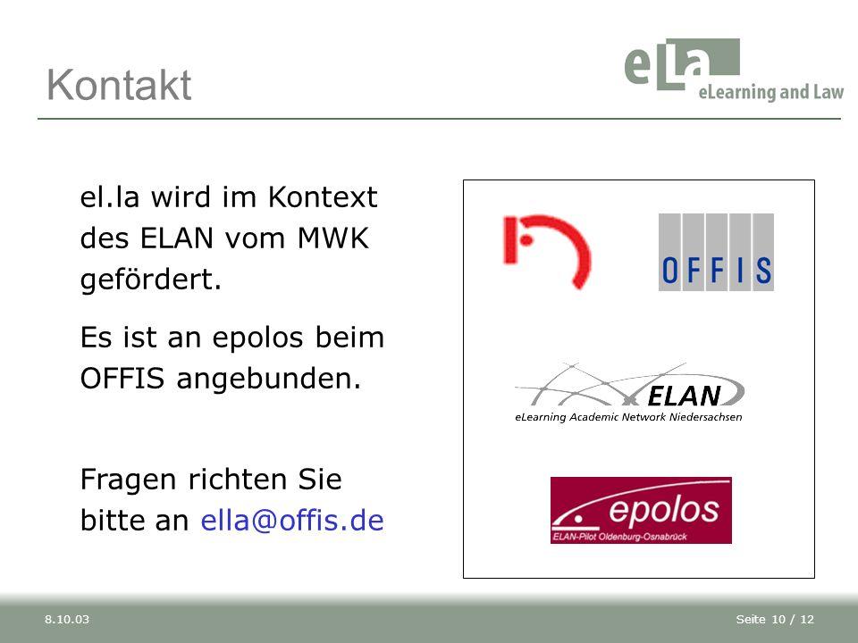 Seite 10 / 128.10.03 el.la wird im Kontext des ELAN vom MWK gefördert.