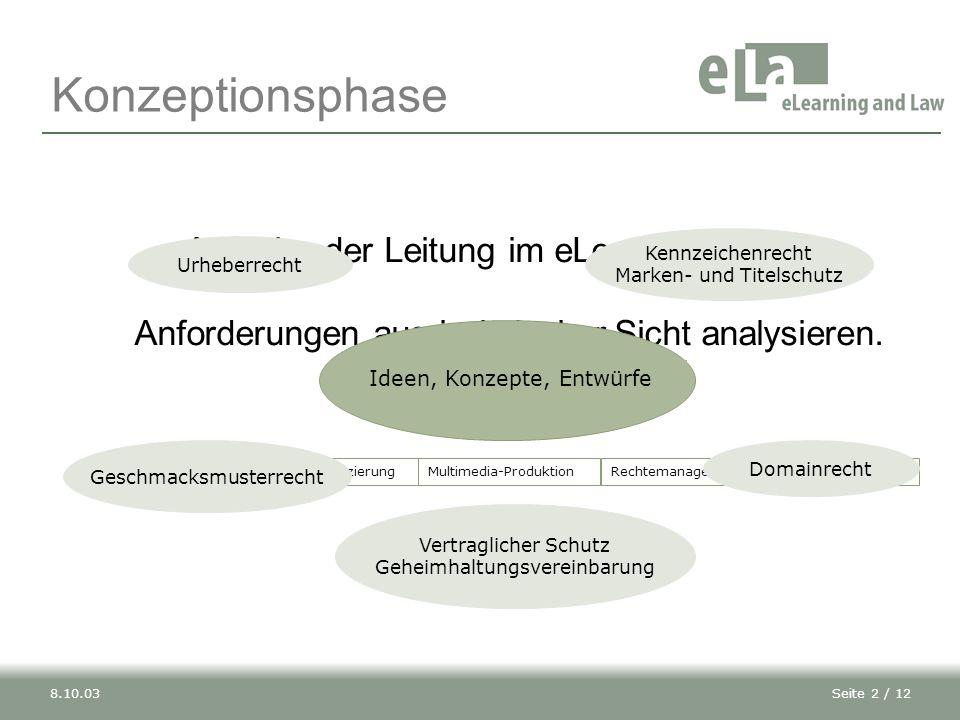 Seite 2 / 128.10.03 Aufgabe der Leitung im eLearning-Projekt: Anforderungen aus juristischer Sicht analysieren.