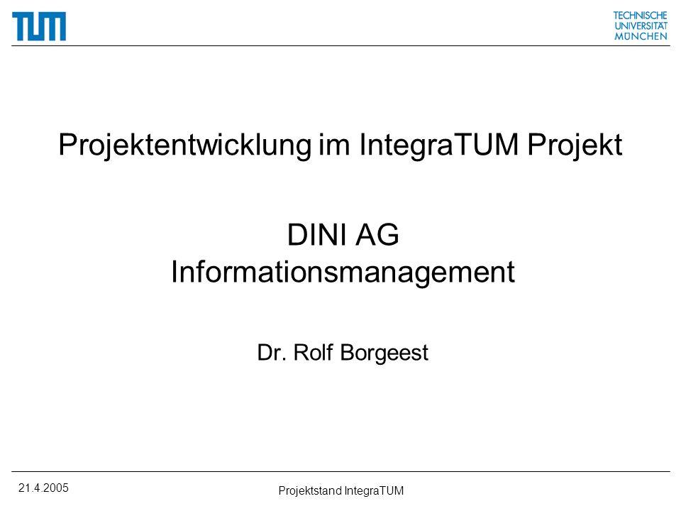 21.4.2005 Projektstand IntegraTUM Agenda Projektübersicht Ressourcenausstattung Highlights –Organisation –Verzeichnisdienst –eLearning Fazit
