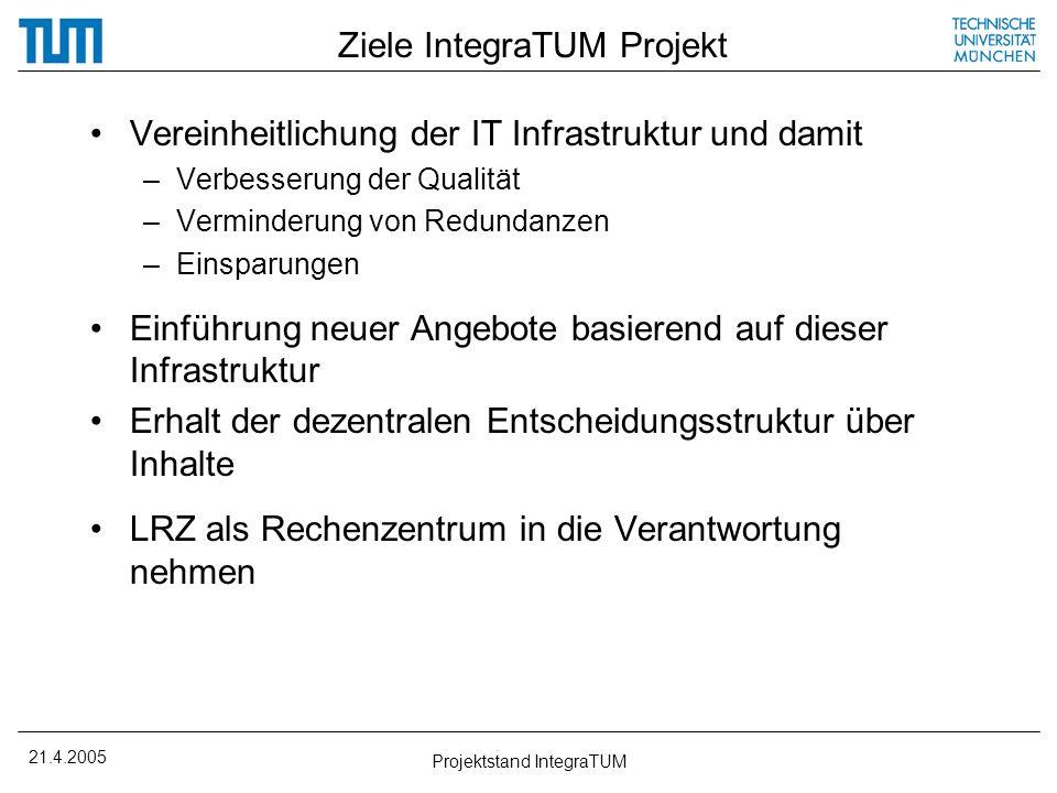 21.4.2005 Projektstand IntegraTUM Ziele IntegraTUM Projekt Vereinheitlichung der IT Infrastruktur und damit –Verbesserung der Qualität –Verminderung v