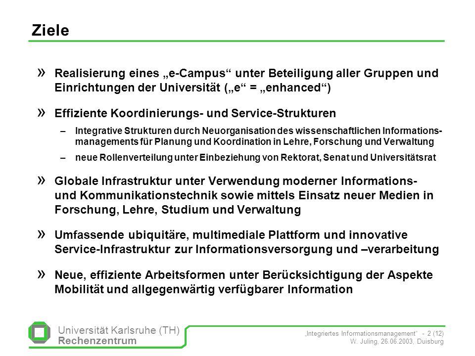 Universität Karlsruhe (TH) Rechenzentrum Integriertes Informationsmanagement - 2 (12) W. Juling, 26.06.2003, Duisburg Ziele » Realisierung eines e-Cam