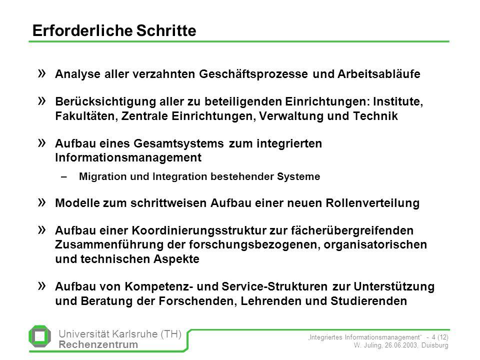 Universität Karlsruhe (TH) Rechenzentrum Integriertes Informationsmanagement - 4 (12) W. Juling, 26.06.2003, Duisburg Erforderliche Schritte » Analyse