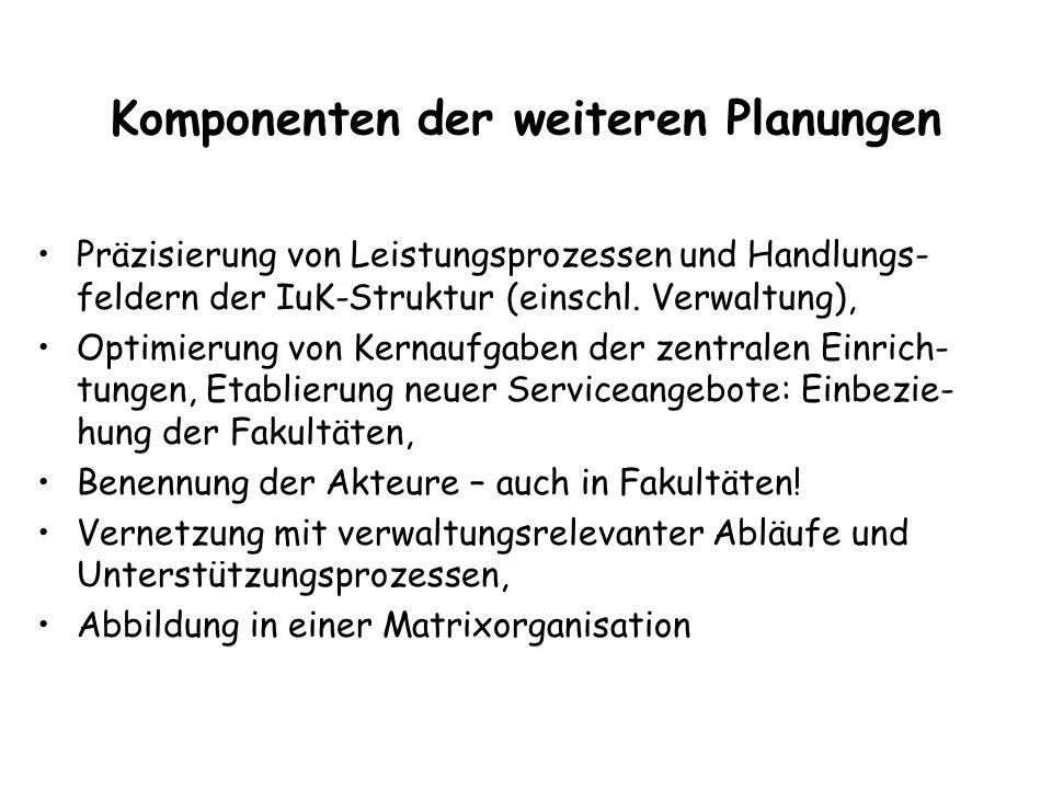 Komponenten der weiteren Planungen Präzisierung von Leistungsprozessen und Handlungs- feldern der IuK-Struktur (einschl.
