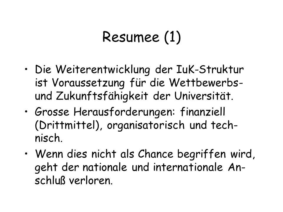 Resumee (1) Die Weiterentwicklung der IuK-Struktur ist Voraussetzung für die Wettbewerbs- und Zukunftsfähigkeit der Universität.