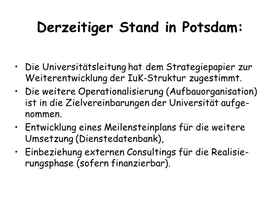 Derzeitiger Stand in Potsdam: Die Universitätsleitung hat dem Strategiepapier zur Weiterentwicklung der IuK-Struktur zugestimmt.