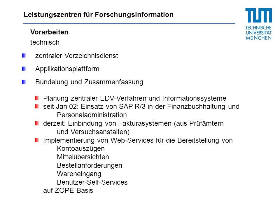Leistungszentren für Forschungsinformation Vorarbeiten technisch zentraler Verzeichnisdienst Applikationsplattform Planung zentraler EDV-Verfahren und